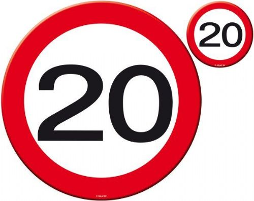Traffic Sign 20th Party Place Mat & Coaster Birthday Tableware Table Disposable